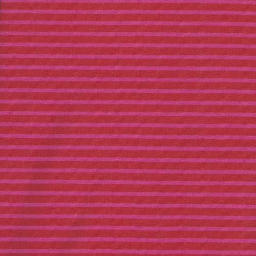 Tissu jersey rayé rouge/rose