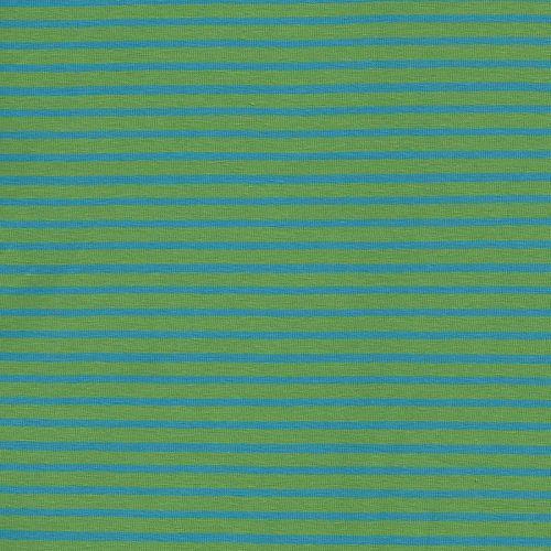 Tissu jersey rayé vert/bleu