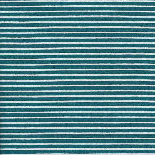 Tissu jersey rayé bleu canard/blanc