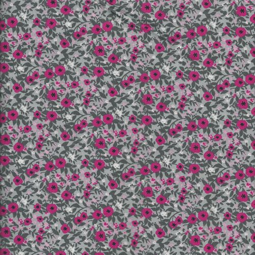 Tissu popeline imprimé fleurs rose fond gris
