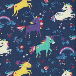 Tissu jersey licornes arc en ciel
