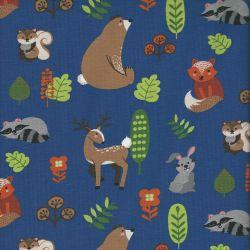 Tissu jersey animaux de la forêt fond bleu