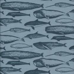 Tissu jersey baleines fond bleu