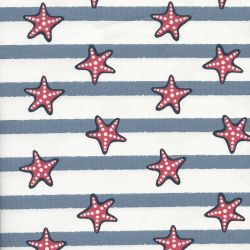 Tissu jersey étoiles de mer fond rayé