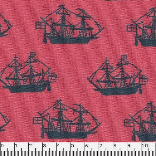 Tissu jersey fregates fond corail