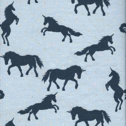 Tissu jersey licornes glitter bleu