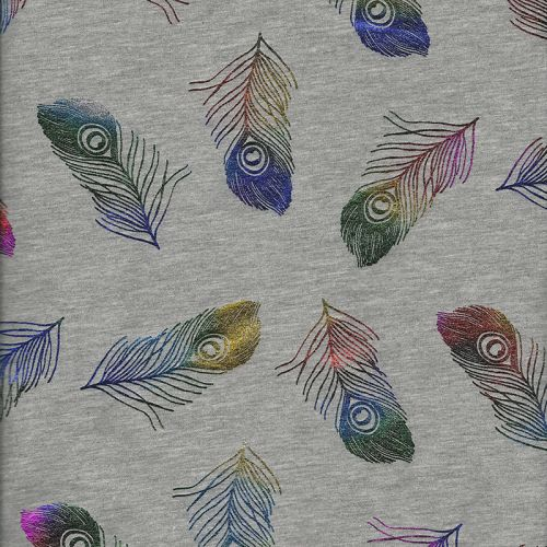 Tissu jersey plumes technicolores glitter fond gris