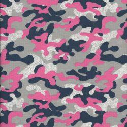 Tissu jersey camouflage rose glitter