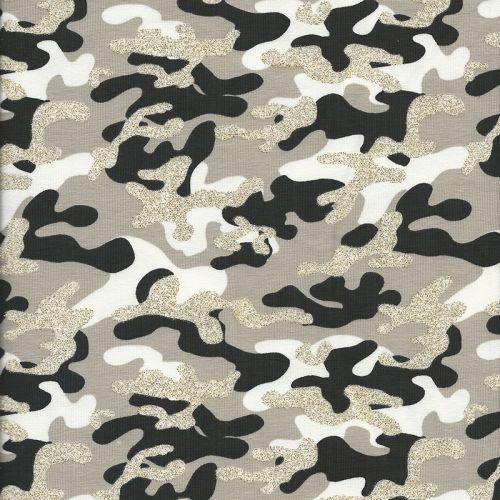 Tissu jersey camouflage beige glitter
