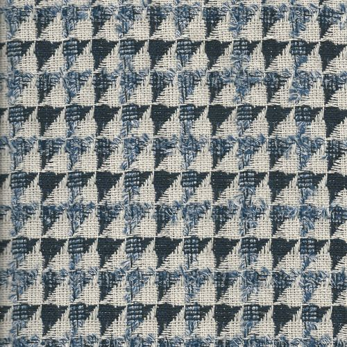 Tissu jacquard triangles bleu/blanc