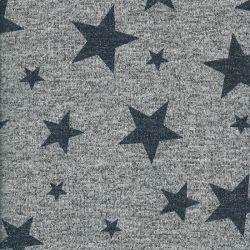 Tissu maille étoiles métal bleu fd gris