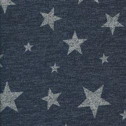 Tissu maille étoiles métal gris fd bleu