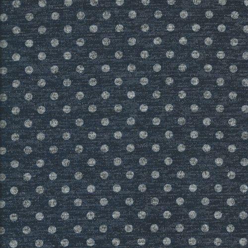 Tissu maille pois métal gris fd bleu
