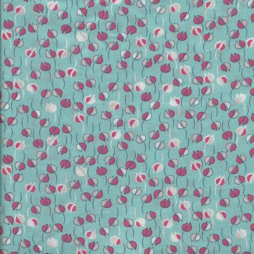 Tissu viscose fleurs graphiques fond bleu