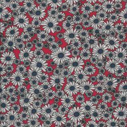 Tissu viscose marguerites fond rouge