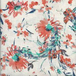 Tissu fleurs fond blanc 45 % lin/55%vis larg 135 cm