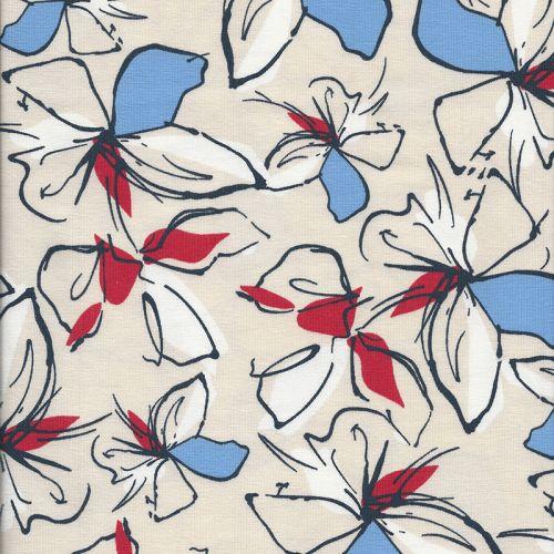 Tissu jersey hibiscus fond beige