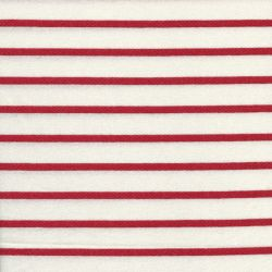 Tissu jersey marinière blanc/rouge