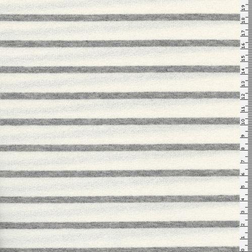 Tissu jersey marinière Ecru/gris