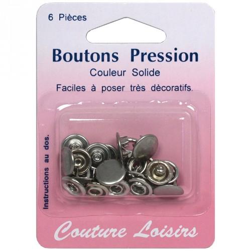 Boutons pression 11 mm couleur argent