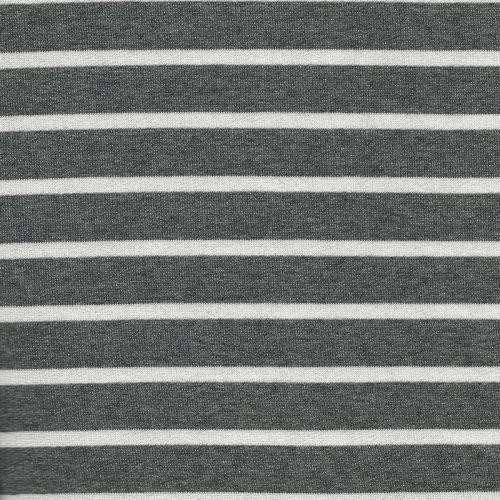 Tissu jersey marinière gris/blanc