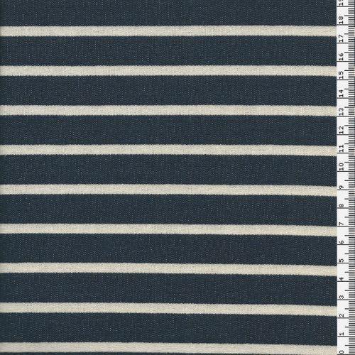 Tissu jersey marinière Marine/blanc