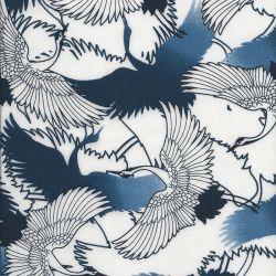 Tissu viscose grues fond bleu