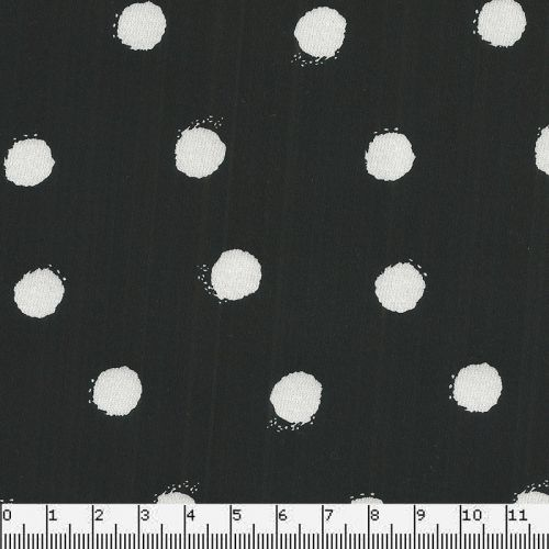 Tissu satin de coton noir à pois blanc