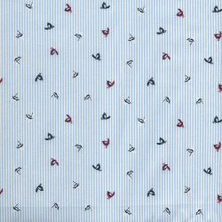 Tissu les piafs sur fond à rayures bleu et blanc