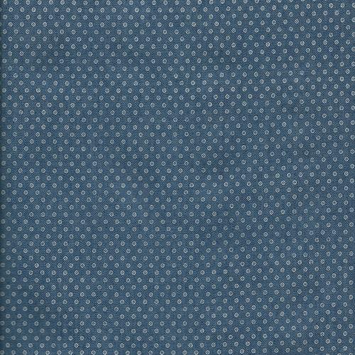 Tissu coton chambray à pois blancs