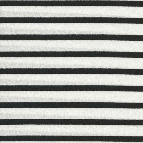 Tissu jersey marinière blanc/noir argent