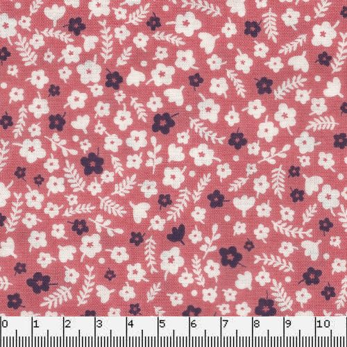 Tissu coton forest talk mini pink Makower