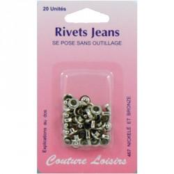 Rivets jeans couleur nickelée X20