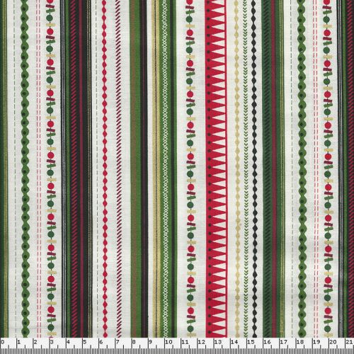 Tissu coton strip green Makower