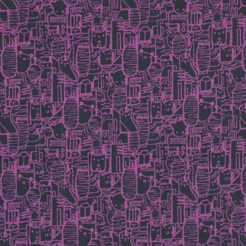 Tissu 100 % coton lawn chats violet