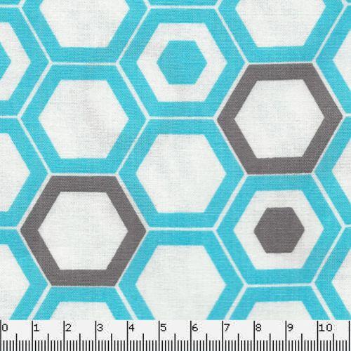 Tissu graphique nid d'abeille bleu turquoise
