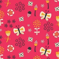 Tissu papillons multi fond rose
