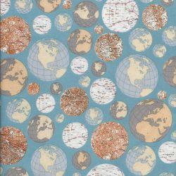 Tissu mappemonde fond bleu
