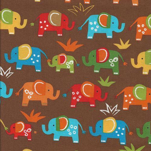 Tissu éléphant fond marron