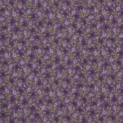 Tissu patch petites fleurs ton parme et prune fond violet QT