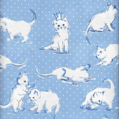 Tissu chat blanc fond bleu