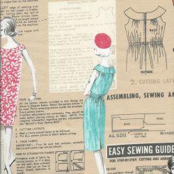 Tissu couture vintage fond moka MM