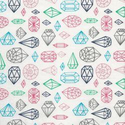 Tissu coton12 diamants fond blanc