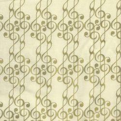 Tissu graphique doré fond beige