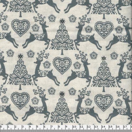 Tissu coton Scandi Deer gris Makower