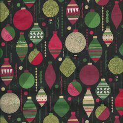 Tissu coton baubles black Makower