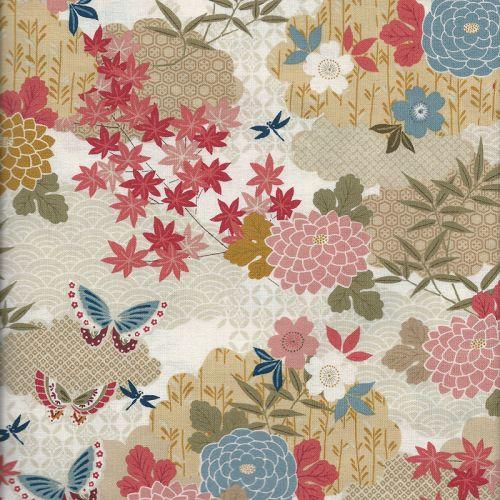 Tissu coton jap gar mont ivoire Makower