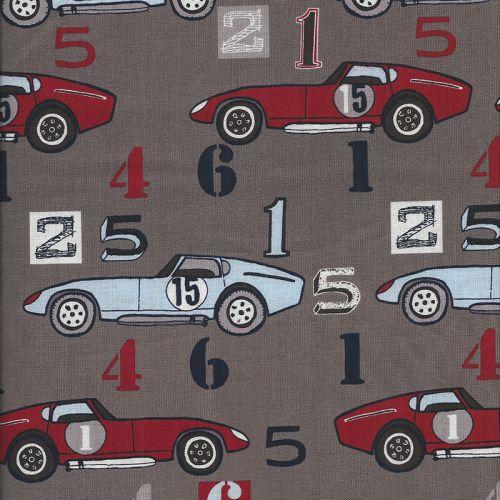 Tissu anciennes voitures de course fond gris anthracite