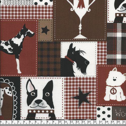 Tissu patch chiens fond brun