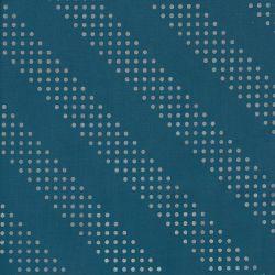 Tissu graphique argenté fond bleu 100% coton